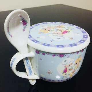 Precious Moments soup bowl with matching lid and spoon