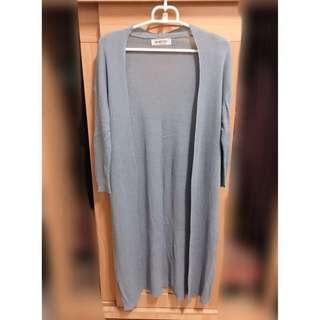 🚚 全新七分袖針織長版罩衫-藍