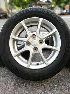 Original 14 inch sports rim myvi ikon tyre 70%. *mora mora 300*