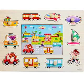 (Puzzle5) Wooden Vehicles Peg Board Knob Educational Alphabets Numbers AnimalsPuzzles