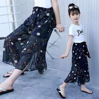 💥中大童裝-預購H036美《夏季韓版女童 字母上衣+雪紡闊腿褲套裝》大腳套裝