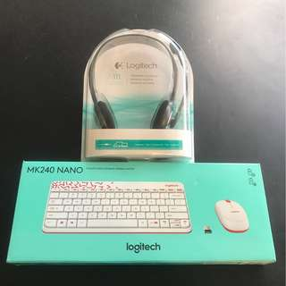 BN Logitech wireless keyboard set & headset