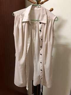 無袖長版排扣上衣