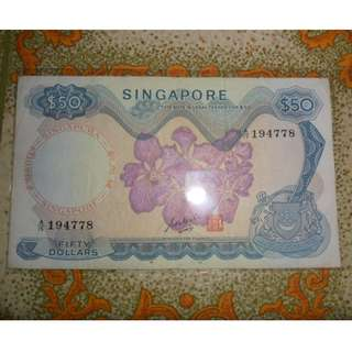 Singapore orchid series $50 banknote GKS Circulated