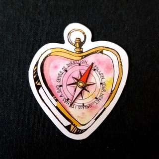 C11 Heart Compass Watercolour Sticker Stickers