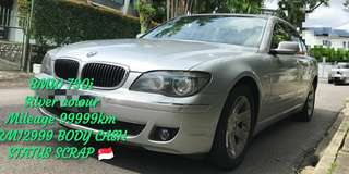 BMW 730i Silver colour Mileage 99999