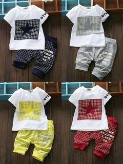 🍀Baby Boy Star Printed T-Shirt+Pants 2pcs Set(T)🍀