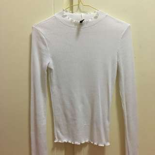White Ribbed Mock Neck Long Sleeved Top