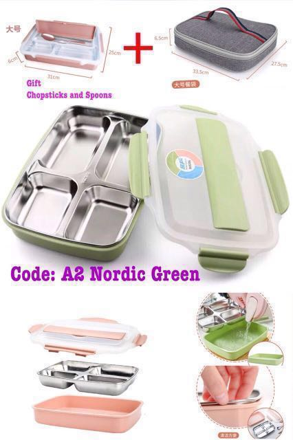 A2 Nordic Green 304 Stainless Steel Lunch box Bento c/w Insulated Bag &  Gift Chopsticks & Spoons Lunch Box Size: 31cm x25cmx6cm Lunch Bag Size: