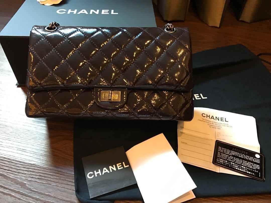 ab5767de1ab6fe Authentic Chanel Purple Patent Leather Reissue 226 Pewter Hardware ...