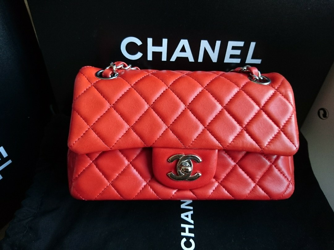 f11043f43f75fd Chanel mini Coco classic flap 20 cm in orangery red, Luxury, Bags ...