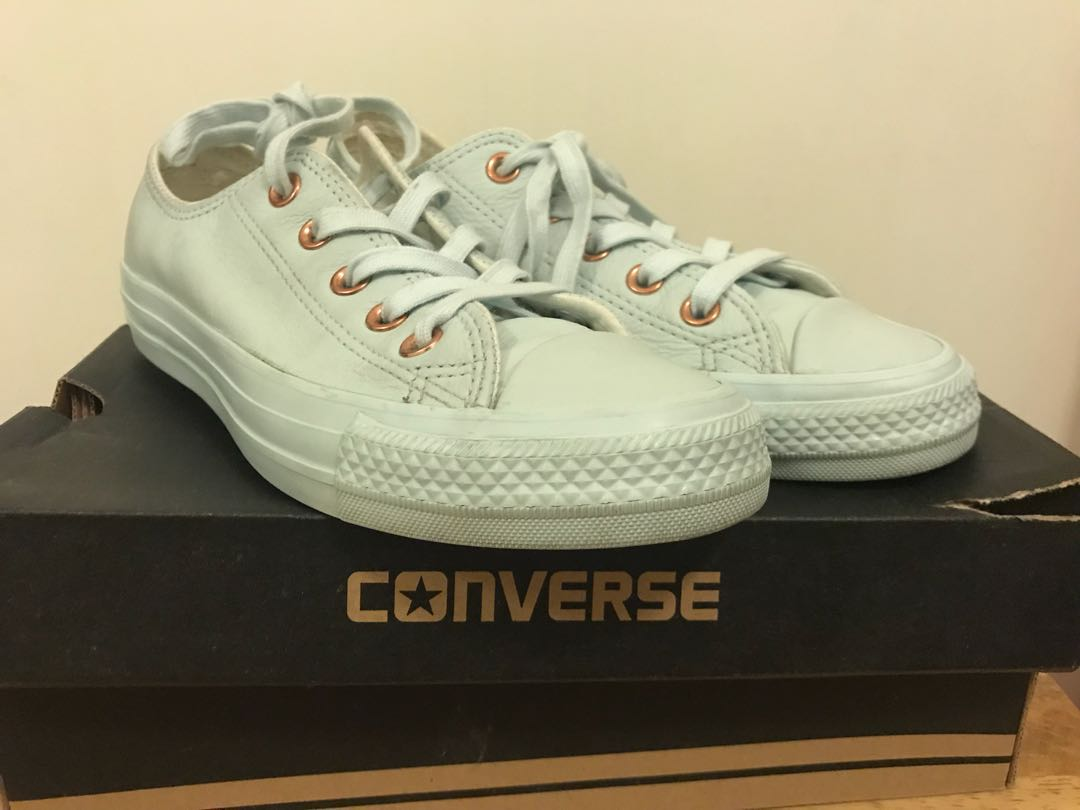 b2403a6e7f89a9 Converse All star Low leather Powder blue rose gold exclusive ...