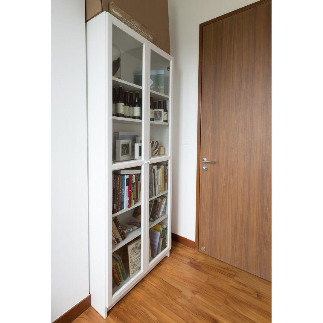 Billy Oxberg Bookcase Bookshelf White Glass Doors Rrp 289