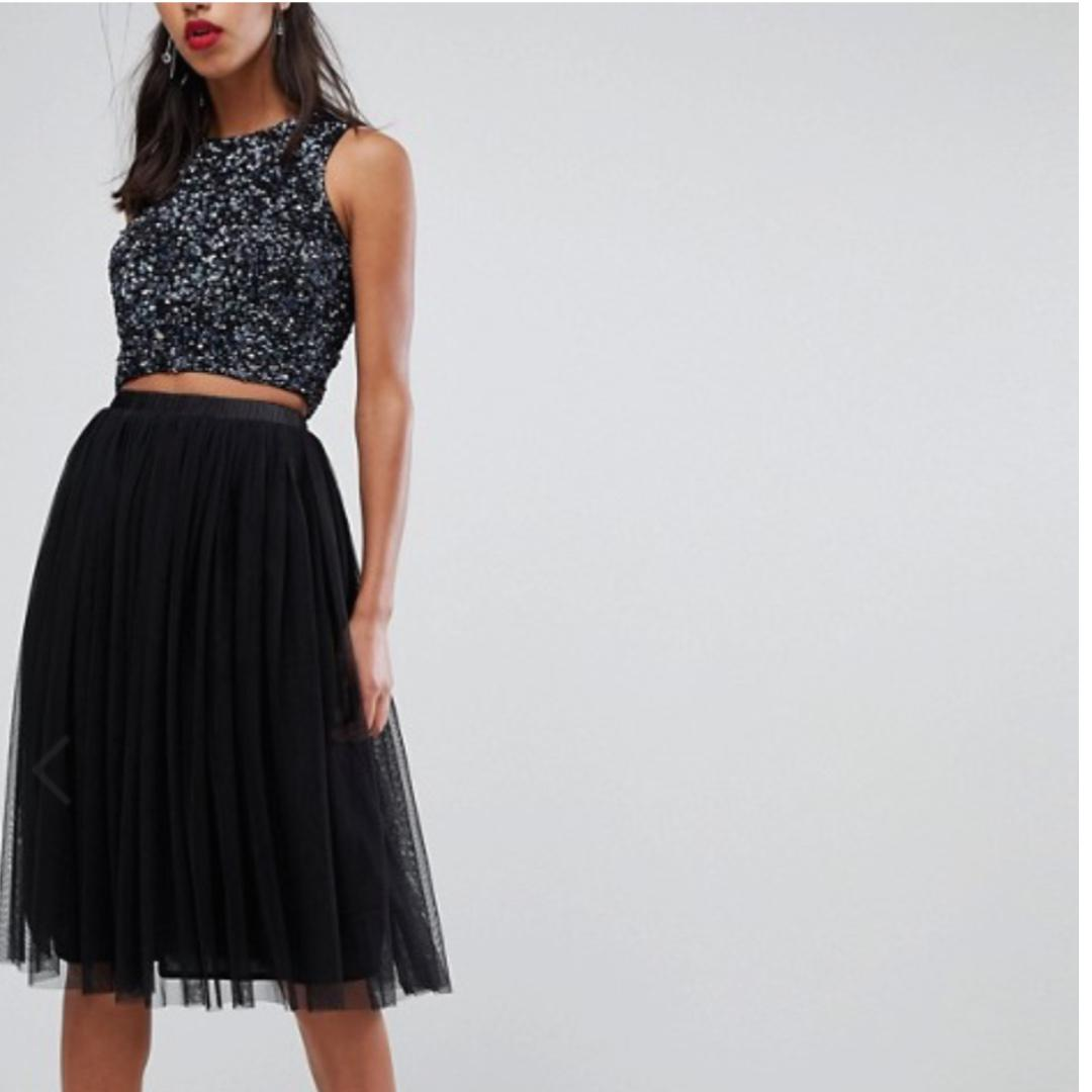 look good shoes sale good texture quality and quantity assured Lace & Beads Black Tulle Midi Skirt, Women's Fashion ...