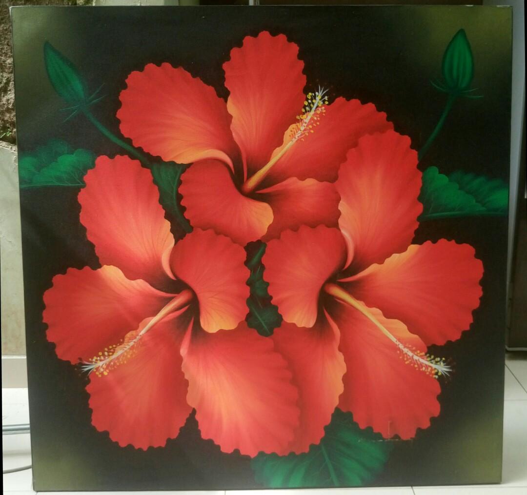 Lukisan Bunga Sepatu Desain Kerajinan Tangan Karya Seni Di Carousell