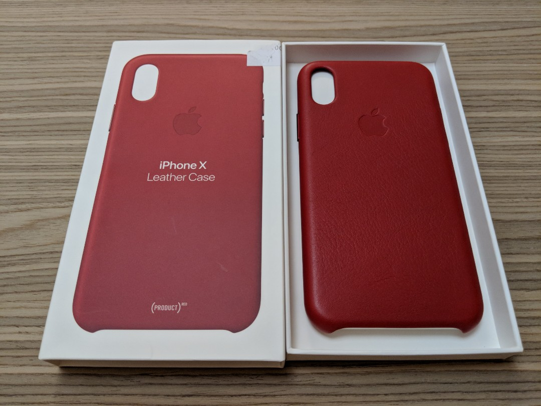 sports shoes f55b1 7ffee Original Apple Leather case for iPhone X (red leather)