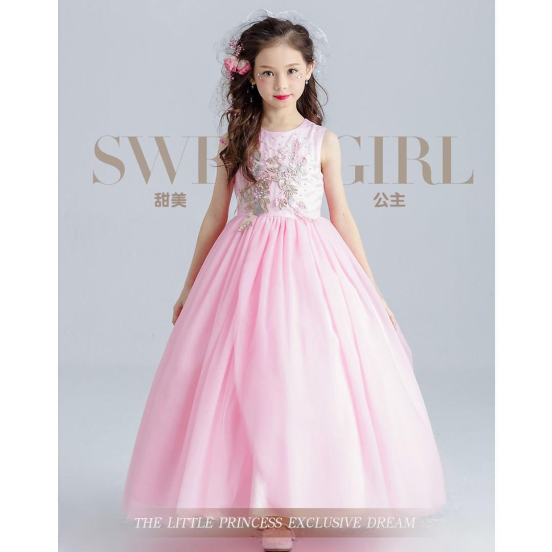 ddd217ff22 Exclusive Pink Princess Long Gown Girls Wedding Birthday Dress ...