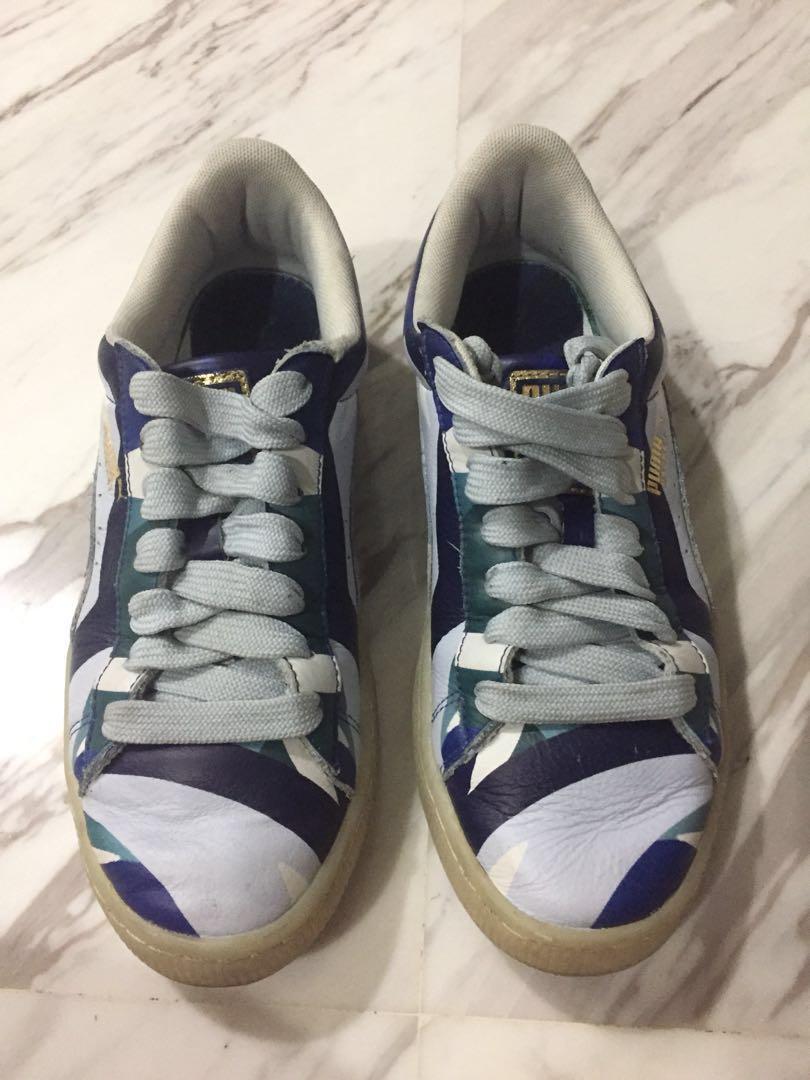 PUMA Women's Puma X Careaux Basket Graphic Twilight Blue Halogen Blue Shoe