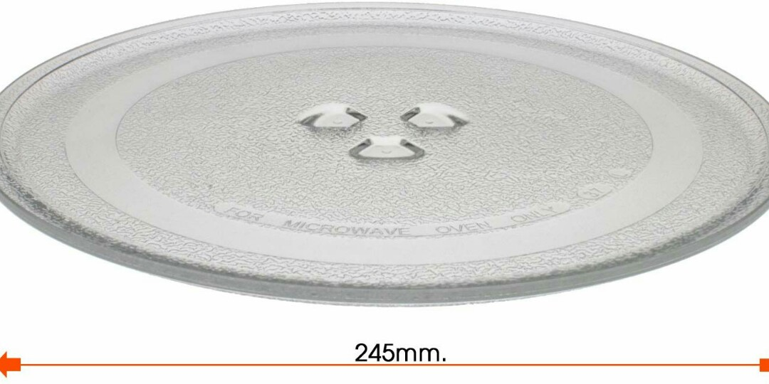 Universal Microwave Turntable Glass Plate with 3 Fixtures 245 mm