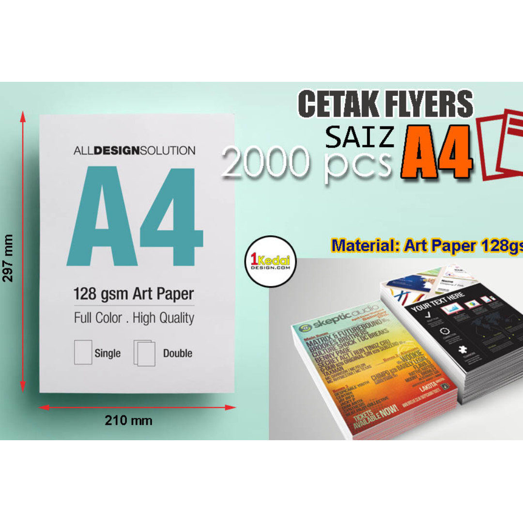 Servis Cetak 2000 Helai A4 Flyers 128gsm Books Stationery