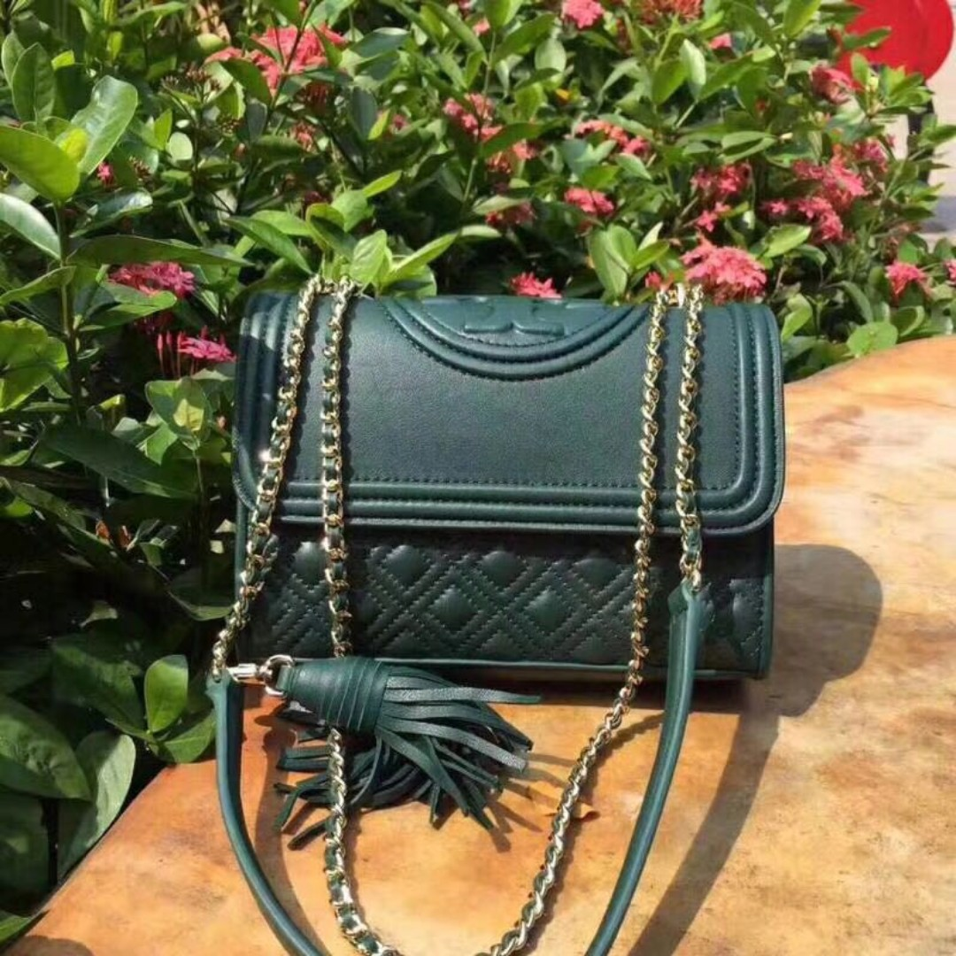 Tory Burch Green Fleming Chain Shoulder Bag Luxury Bags Wallets Large York Tote French Gray Handbags On Carousell