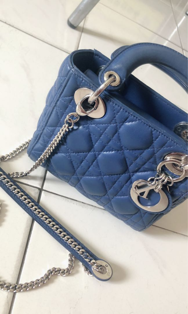 31d8ea8aed Used Mini Lady Dior Bag in Blue Lambskin for sell, Barangan Mewah, Beg dan  Dompet di Carousell