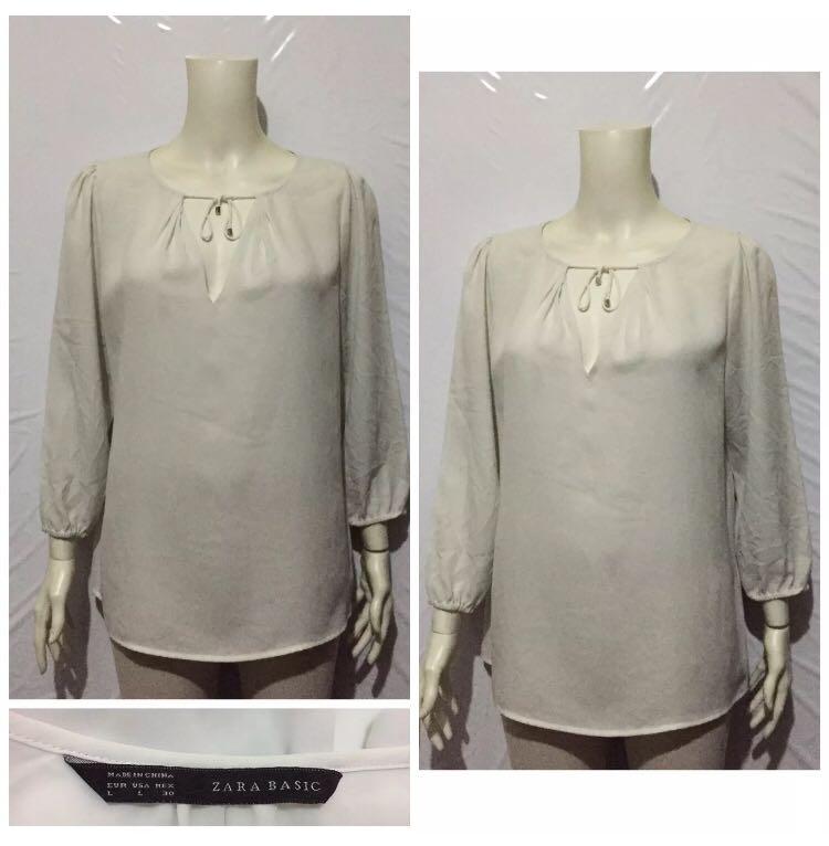 1ee5a0a03e2d7e ZARA BASIC WHITE TIE FRONT BLOUSE, Women's Fashion, Clothes, Tops on ...