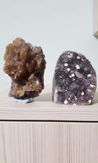 2pcs Rare Full Stilbite on Amethyst and Rain Drop Calcite Amethyst Geode from Uruguay