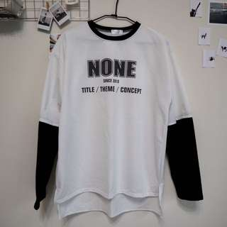 🚚 拼接感 白色長袖T恤