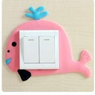 Luminous cute whale design switch socket wall sticker