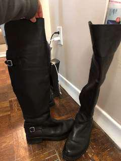 Leather over knee black boots