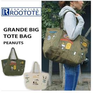 📮包平郵⛺️二手rootote vintage snoopy embroidery tote bag