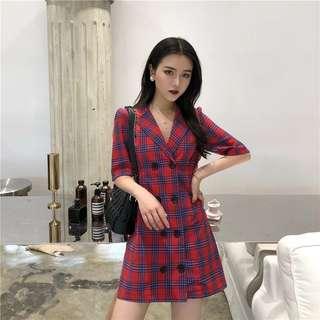 🚚 格紋西裝排扣裙