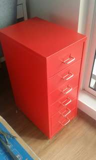 6- Drawer Red Metal Cabinet with caster wheels