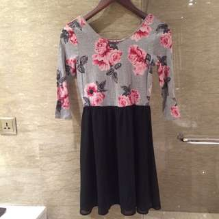 H&M Original Authentic 100% - Light Grey Floral dress with black skirt