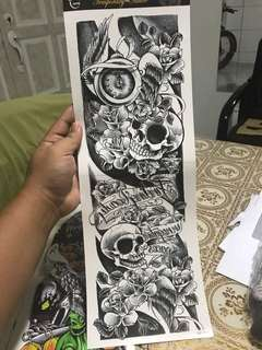 Qb3040 full arm / leg tattoo sticker lasted up to 1 week