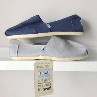 2 Pairs: Toms Navy & Light Grey Canvas Slip On