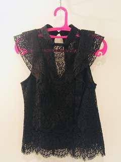 Black lace crop top (size S)