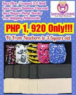 CLOTH DIAPERS 5PCS SHELL WITH 10PCS MIXED INSERTS ADJUSTABLE NEWBORN TO 3.5YEARS OLD BABIES
