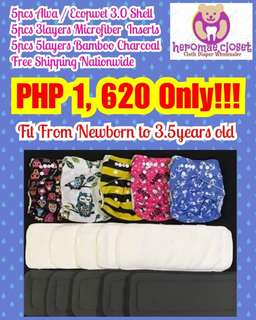 CLOTH DIAPERS 5PCS WITH 10PCS MIXED INSERTS ADJUSTABLE NEWBORN TO 3.5YEARS OLD BABIES