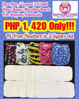 CLOTH DIAPERS 5PCS WITH 10PCS MICROFIBER INSERTS ADJUSTABLE FROM NEWBORN TO 3.5YEARS OLD BABIES