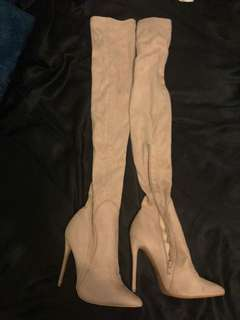 Faux suede extreme thigh high boots