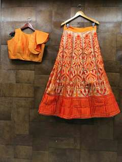 Emboss Crop Top Monsoon Lehenga (Free Postage)