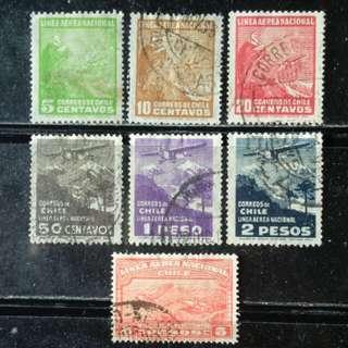 [lapyip1230] 智利 1933年 國內定期航線開通 舊票全套 Set VFU