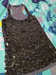 Forever21 Sequined front razor back top