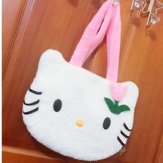 日系絕版包 Hello Kitty 凱蒂貓 絕版可愛貓臉絨毛大頭包 絕版 全新 手提包 #手滑買太多