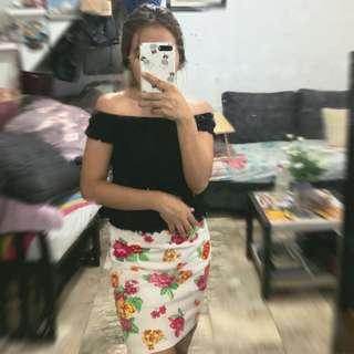 Black Off Shoulder and Floral Skirt