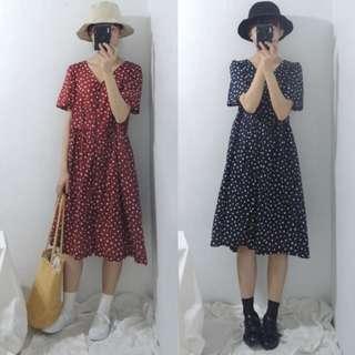 。error dot。日本復古女伶圓點洋裝