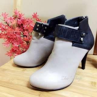 全新未穿 正韓扣環拼接色塊牛皮高跟踝靴 騎士靴