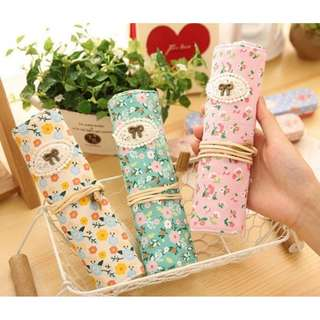🚚 *Clearance* Floral Design Roll Up Pencil Case/Make Up Bag